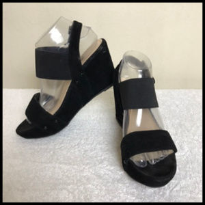 Black Velvet Suede Like Wedgie Sandals